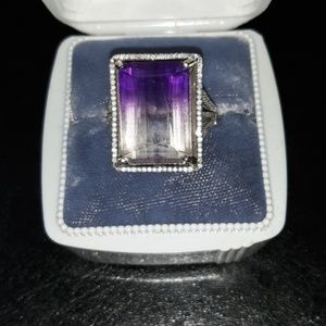 Ametrine and diamond ring in 14k gold